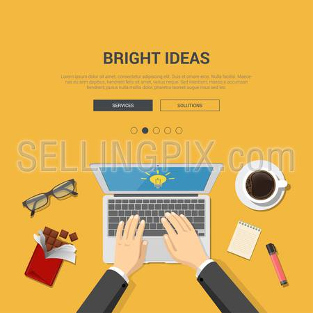 Mockup modern flat design vector illustration concept for bright ideas top view workplace hands on laptop chocolate coffee glasses. Web banner promotional materials template collection.