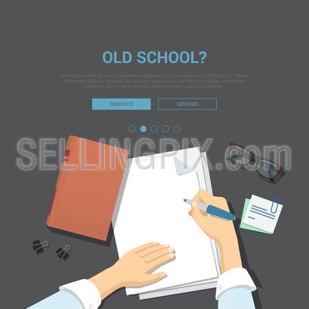 Mockup modern flat design vector illustration concept for old school top view workplace hands on paper showcase writing empty sheet glasses. Web banner promotional materials template collection.