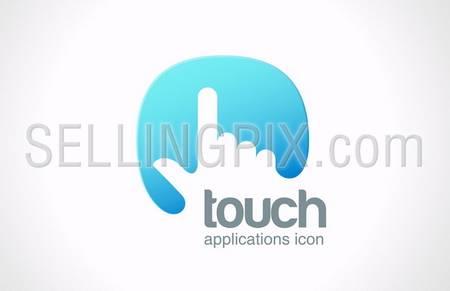 Touch screen technology abstract vector logo design template. Hand finger press on touchscreen creative concept symbol icon. – stock vector