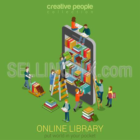 Online mobile library creative modern 3d flat design web isometric concept. Library shelfs in smart phone tablet micro people on ladders reading put take off books. World knowledge in pocket.