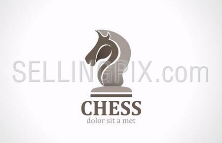 Chess club Horse head icon shape silhouette vector logo design template. Lawyer concept. – stock vector