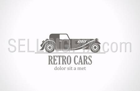 Retro Vintage car silhouette abstract vector logo design template. Old Classic vehicle. – stock vector