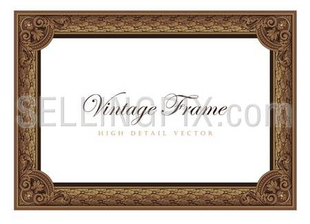 Vintage floral picture frame. Flourish design certificate template. Old Classic Antique style Border. – stock vector