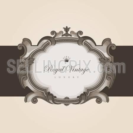 Vintage floral frame border card vector design template. Retro flourish elegant creative style. – stock vector