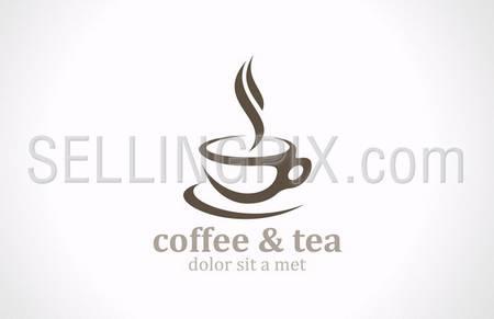 Coffee Tea Cup vector logo design template. Cafe emblem sign. Cafeteria symbol. – stock vector