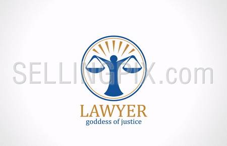 Lawyer symbol Scales vector logo design template. Legal concept. Law icon. Themis silhouette. Attorney sign. – stock vector