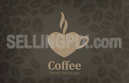 Coffee cup heart shape vector logo design template. Cafe emblem icon. Love coffee concept. – stock vector