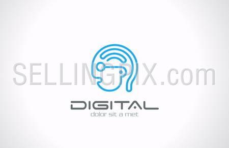 Digital Head Line art vector logo design template. Internet generation concept. Geek symbol. Digital Brain idea. Robot Android icon – stock vector