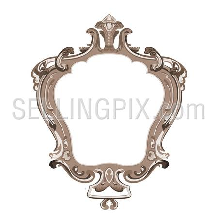 Vintage Floral Frame vector design template. Flourish ornament. Classic old style. – stock vector