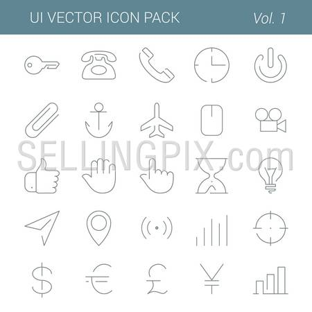 User interface vector icon line art design pack. Lineart creative icons set. Flat trendy web buttons. – stock vector