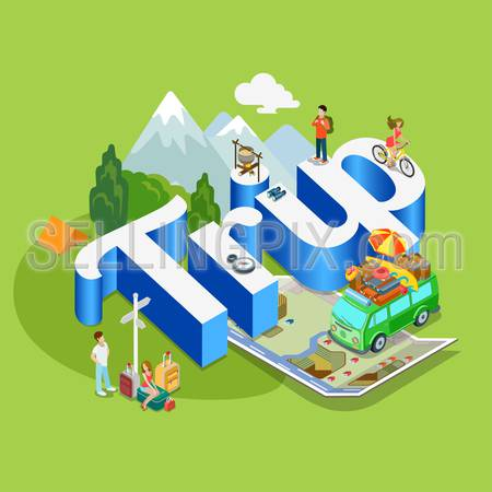 Trip modern lifestyle flat 3d web isometric infographic vector. Young joyful micro male female hippe van on huge letters. Creative people world vacation tourism collection.