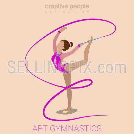 Sports women art gymnastics workout exercise performance flat 3d web isometric infographic vector. Young girl on carpet with gymnastic ribbon. Creative people sports activity collection.