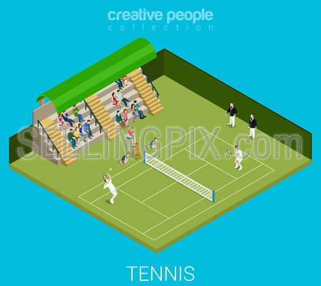 Tennis game match concept. Sport modern lifestyle flat 3d web isometric infographic vector. Young joyful micro male female people group sports workout exercise. Creative sportsmen people collection.