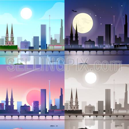 Flat modern city scape historic buildings skyscrapers embankment bridge scene set. Stylish web banner landscape collection. Daylight, night moonlight, sunset view, retro vintage picture sepia.