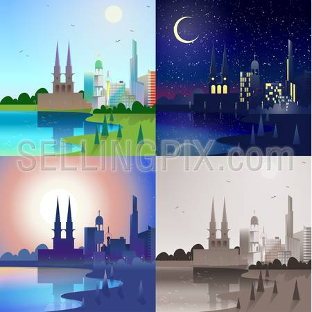 Flat modern city scape historic castle tower building skyscrapers river bank scene set. Stylish web banner landscape collection. Daylight, night moonlight, sunset view, retro vintage picture sepia.