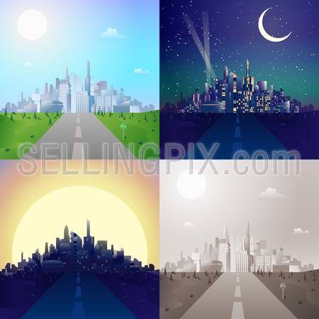 Flat road to modern urban city scape skyscrapers on horizon scene set. Stylish web banner landscape collection. Daylight, night moonlight, sunset view, retro vintage picture sepia.