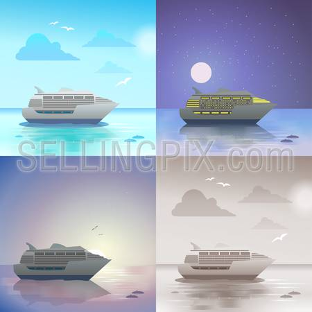 Flat landscape ocean sea cruise ship summer travel vacation scene set. Stylish web banner nature outdoor collection. Daylight, night moonlight, sunset view, retro vintage picture sepia.