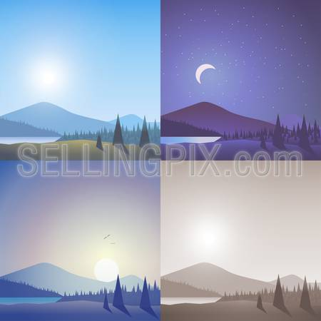 Flat landscape hilly mountain wild lake forest scene set. Stylish web banner nature outdoor collection. Daylight, night moonlight, sunset view, retro vintage picture sepia.