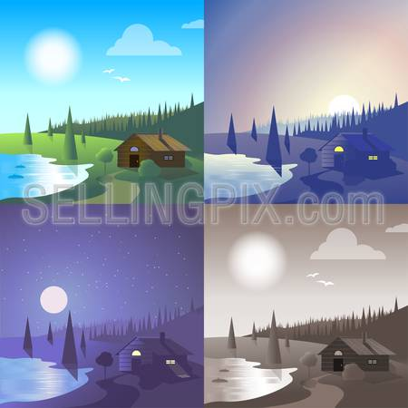 Flat lake house landscape river bank wild forest scene set. Stylish web banner nature outdoor collection. Daylight, night moonlight, sunset view, retro vintage picture sepia.