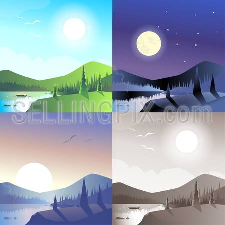 Flat landscape hilly mountains wild forest lake boat scene set. Stylish web banner nature outdoor collection. Daylight, night moonlight, sunset view, retro vintage picture sepia.