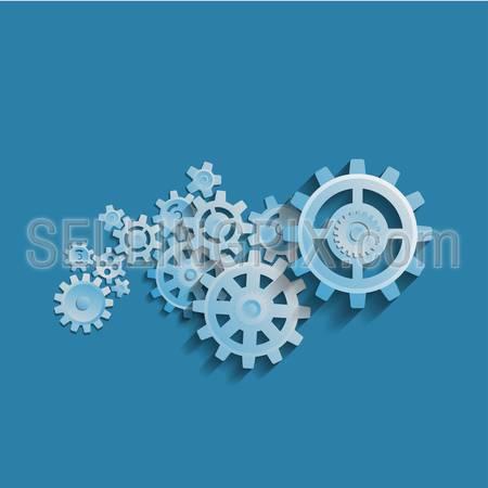 Cogwheel mechanism vector illustration abstract business process concept. Teamwork gears background template.