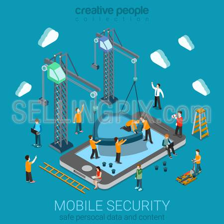 Micro people installing huge shield on smartphone. Flat 3d web isometric mobile online safety data protection secure connection cryptography antivirus firewall internet security infographic concept.