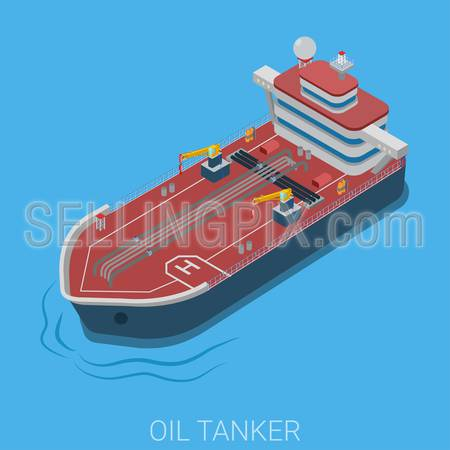 Oil petroleum transportation ocean sea tanker flat 3d web isometric infographic concept vector. Gas power energy industry details collection.