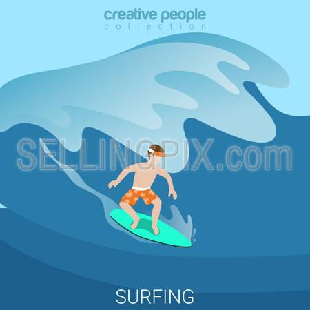 Water activity surfing sport fun lifestyle flat 3d web isometric infographic vector. Creative sportsmen people collection.
