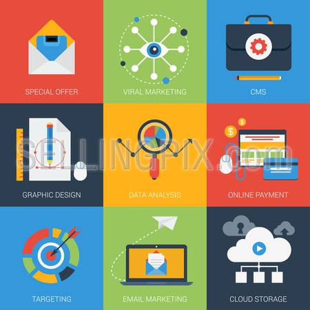 Flat icons set email viral marketing targeting data analysis digital advertising campaign online payment. Web click infographics style vector illustration concept collection.