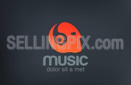 Head with Headphones listening Music vector logo design template.  Negative space creative concept icon. – stock vector