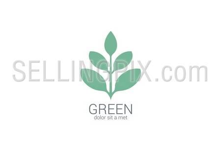 Green Plant abstract vector logo design template. Eco organic green concept. – stock vector
