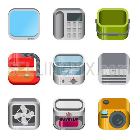 Home table electronics glossy app dashboard icon vector set. Stylish modern mobile web application icons collection. TV telephone bucket lamp food processor mincer blender fan camera air conditioner.