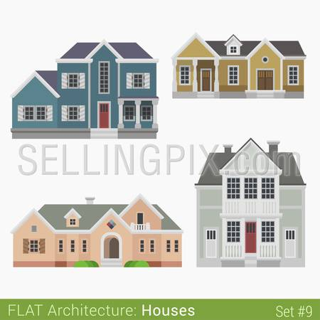 Flat style modern buildings countryside suburb townhouse municipal church houses set. City design elements. Stylish design architecture real estate property collection.