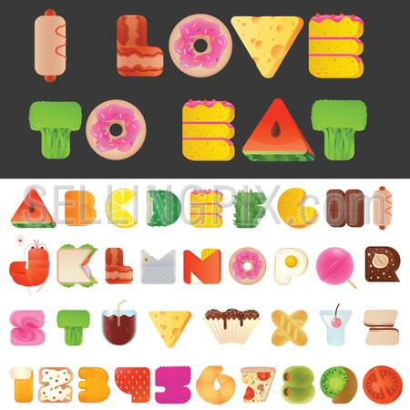 Stylish yummy funny food letters and numbers latin font. Snack A to Z typeset alphabet collection. Modern style typography elements everyone would like to eat.