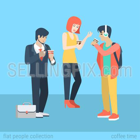 Flat people lifestyle situation coffee smoking cigarette time concept. Two young beautiful boys and girl coffee break. Vector illustration collection of young creative humans.