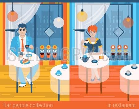 Flat people lifestyle situation in cafe restaurant concept. Set of young beautiful man and woman at table drinking hot beverage alone. Vector illustration collection of young creative humans.