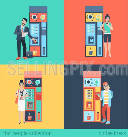 Set of man woman before coffee automatic machine. Flat people lifestyle situation coffee break. Vector illustration collection of young creative humans.