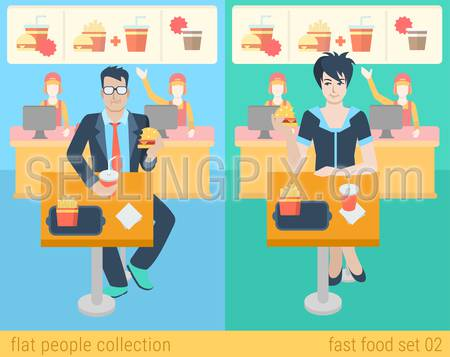 Set of stylish businessman businesswoman manager secretary sitting fastfood table. Flat people lifestyle situation fast food cafe restaurant meal time concept. Vector illustration creative collection.