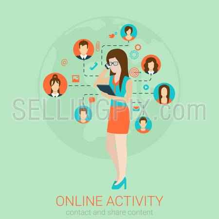 Beautiful young girl businesswoman secretary helper manager in glasses talking phone infographics. Flat style design vector illustration social media network concept. Flat 2D conceptual collection.