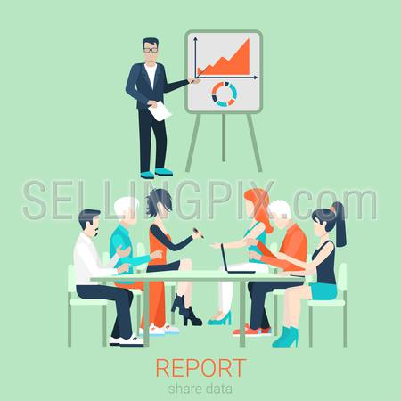 Flat business report, meeting, skull session, council, presentation, get-together, palaver web infographic concept vector. Group of character people table, boss in center by blackboard.