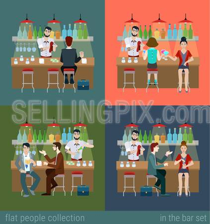 Set of young men women boy girl in the bar counter and barman cocktail drink preparation. Flat people lifestyle situation concept. Vector illustration collection of young creative humans.