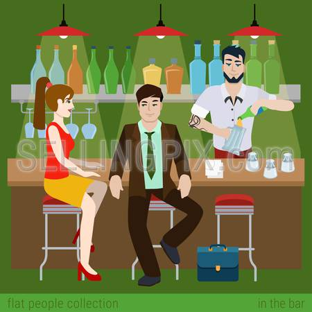 Young couple men women boy girl in the bar counter and barman fill beer glass. Flat people lifestyle situation concept. Vector illustration collection of young creative humans.