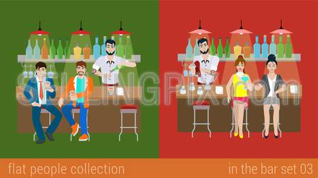 Set of young men women boy girl friends in the bar counter and barman cocktail drink preparation. Flat people lifestyle situation concept. Vector illustration collection of young creative humans.