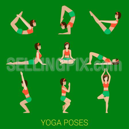 Flat yoga poses stylish modern young sexy girl lady pilates set of figures.