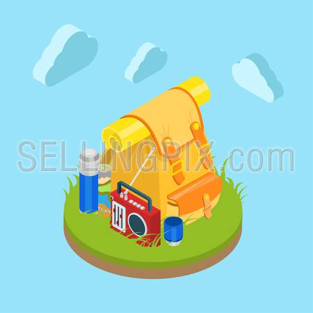 Flat 3d isometric outdoor travel backpack on grassy lawn field. Bag radio map cup thermos. Tourism collection.