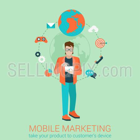 Flat style modern mobile marketing business strategy infographic concept. Conceptual web illustration young map touch tablet target gamification chat call mail email global messaging support.