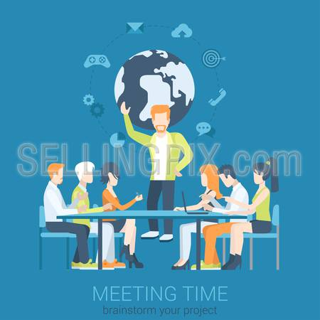 Flat business report, meeting, skull session, council, presentation, get-together, palaver web infographic concept vector. Group of character people table, boss in center.