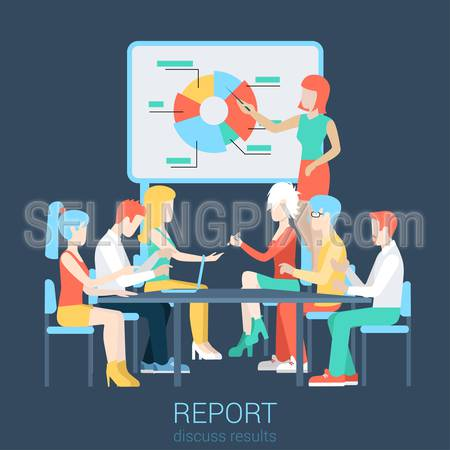Flat business report, meeting, skull session, council, presentation, get-together, palaver web infographic concept vector. Group of character people table, boss in center income graphic blackboard.