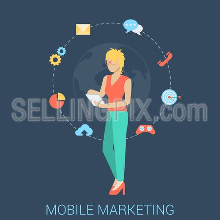 Flat style modern mobile marketing business strategy infographic concept. Conceptual web illustration young woman girl map touch tablet gamification chat call mail email global messaging support.