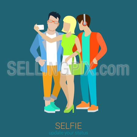 Flat style selfie smartphone making sexy blond girl lady with two abstract hipster male friends. Selfies collection.